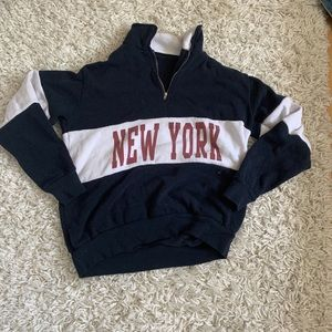 Navy dark pink and white NY sweatshirt with zipper